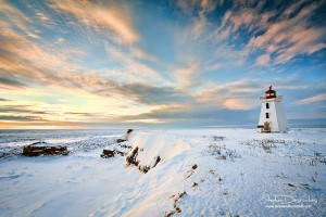 A snow covered Cape Egmont Lighthouse