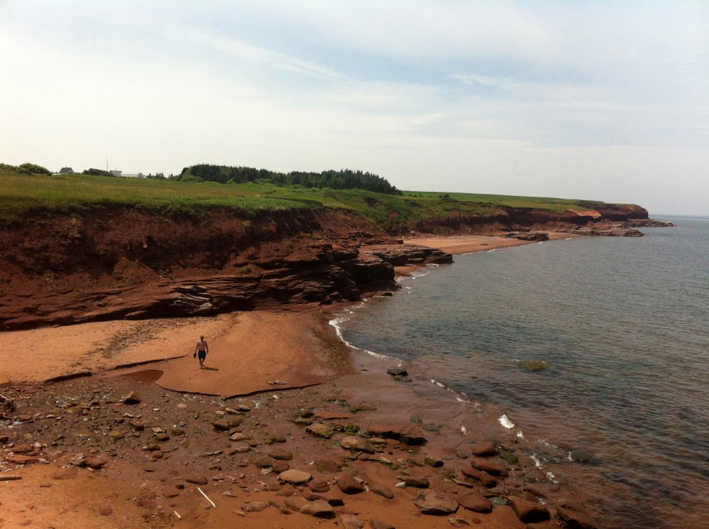 red cliffs and beach