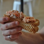This is a photo of the delicious lobster rolls available at Island Favorites in Cavendish, Prince Edward Island.