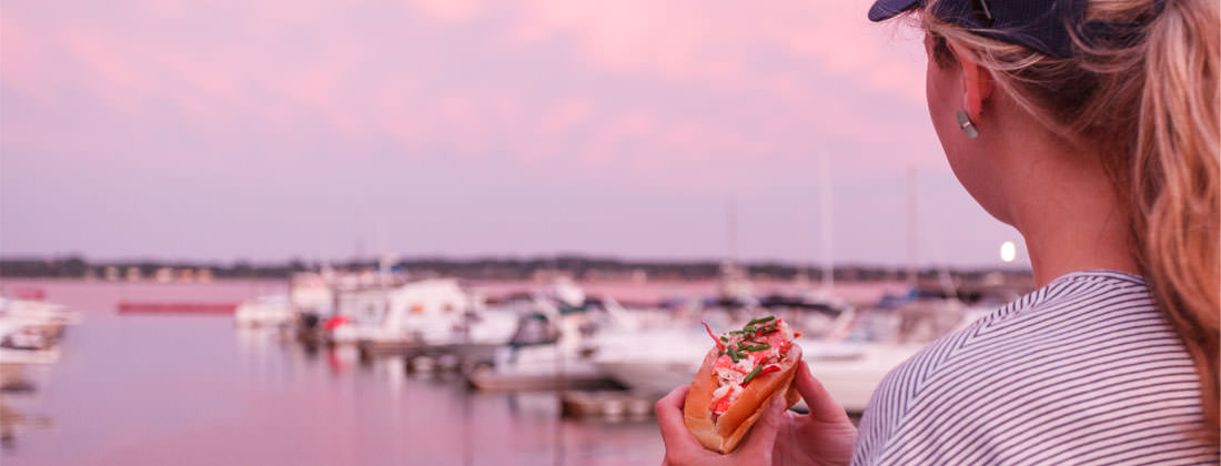 Enjoying a Lobster Roll in Charlottetown, PEI